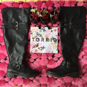 Torrid Black Over the Knee Buckle Strap Boots 9.5W